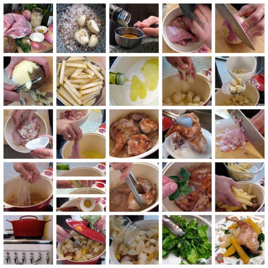 Picture recipe for rabbit with pears