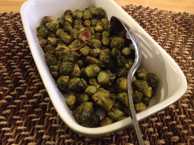 These baby brussels sprouts look like a combination between a pea and a cabbage! Very sweet and tender.