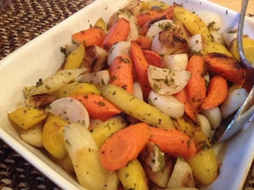 Roasted orange and yellow carrots with turnips