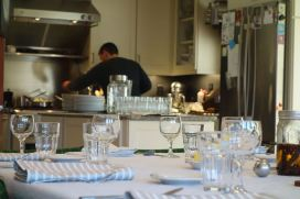 A view of the chef hard at work before the feasting begins