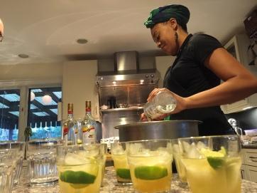Keyla making caipirinhas