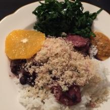 feijoada (family style) rice, greens, farofa, oranges