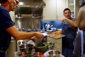 Preparing prosciutto as a garnish for the salad