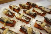 Savory tomato torrijas with escabeche sardines
