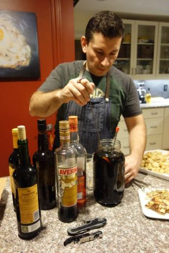 """Preparing the cocktails--my version of the """"Alive and Kicking"""" coffee cocktail"""