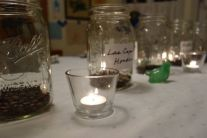 Coffee in mason jars as the centerpiece of a dinner where each course was flavored by coffee