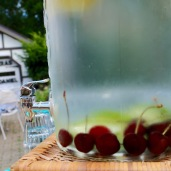 water flavored with cherries and limes